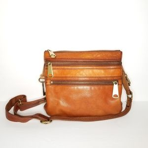 FOSSIL Explored Brown Crossbody Leather Purse
